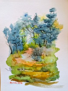 A small 'accidental painting' attempted after watching a Mind of Watercolour tutorial. T