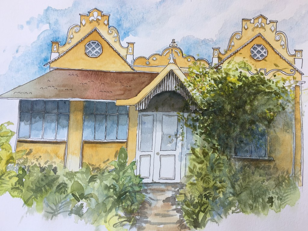 A lot of the old bungalows here are delapidated or overwhelmed with huge buildings. I tried to imagi