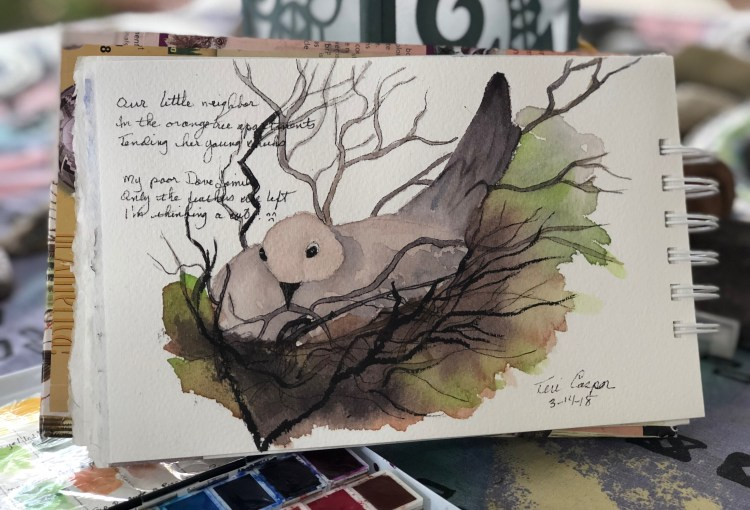 I started this painting a few days ago of the Dove nesting in the orange tree and wrote this haiku: