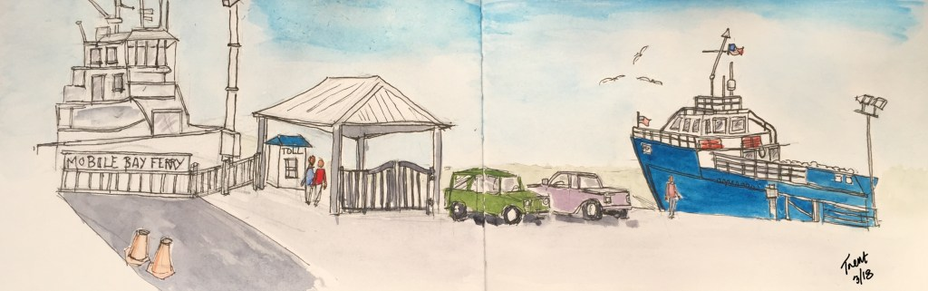 We were at Dauphin Island near Mobile Alabama last week, and I sat on a park bench sketching this ur