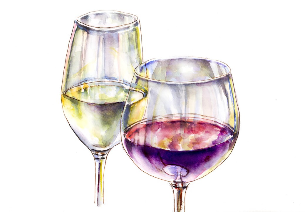 #WorldWatercolorGroup - Day 13 - Two Wine Glasses - Doodlewash
