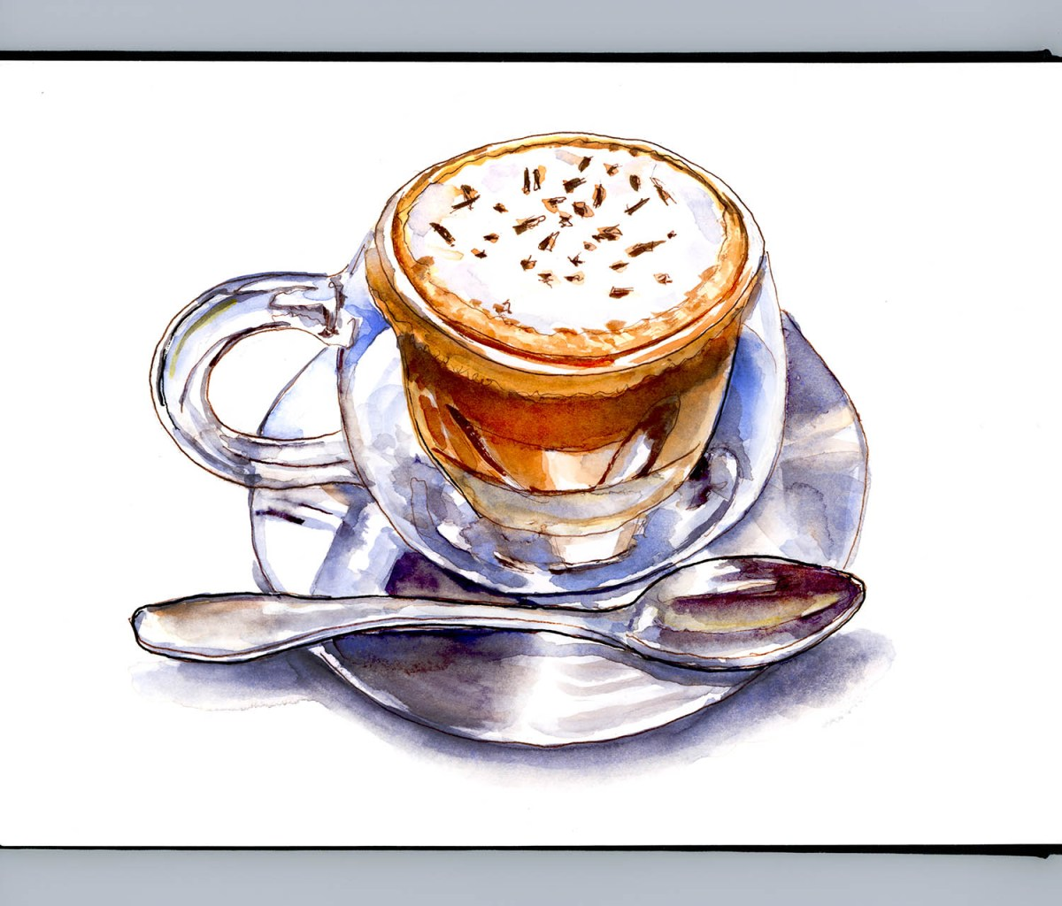 #WorldWatercolorGroup - Day 15 - A Shiny Cappuccino - Doodlewash