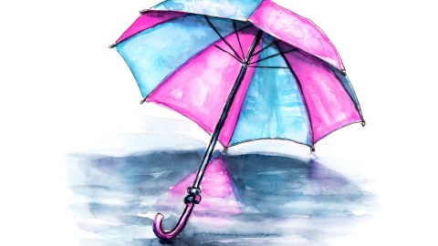 #WorldWatercolorGroup - Day 21 - Rainy Days Umbrella Pink Blue - Doodlewash