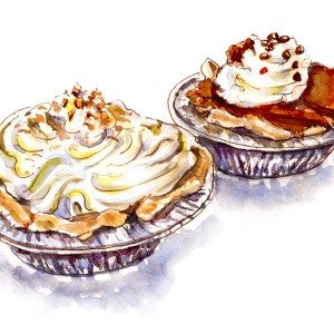 Doodlewash - Day 30 - Happy Treats Coconut Cream Pie Chocolate Brownie Pie- World Watercolor Group
