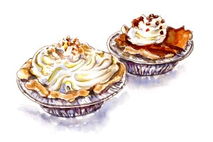 Doodlewash - Day 30 - Happy Treats Coconut Cream Pie Chocolate Brownie Pie- World Watercolor Group