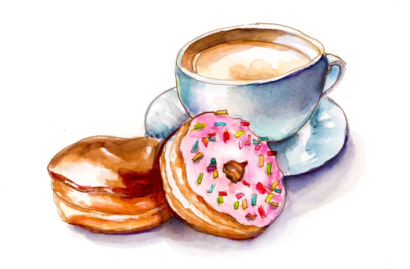 #WorldWatercolorGroup - Day 9 - Coffee And Doughnuts - Doodlewash