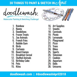 Doodlewash April 2018 Art Challenge Prompts