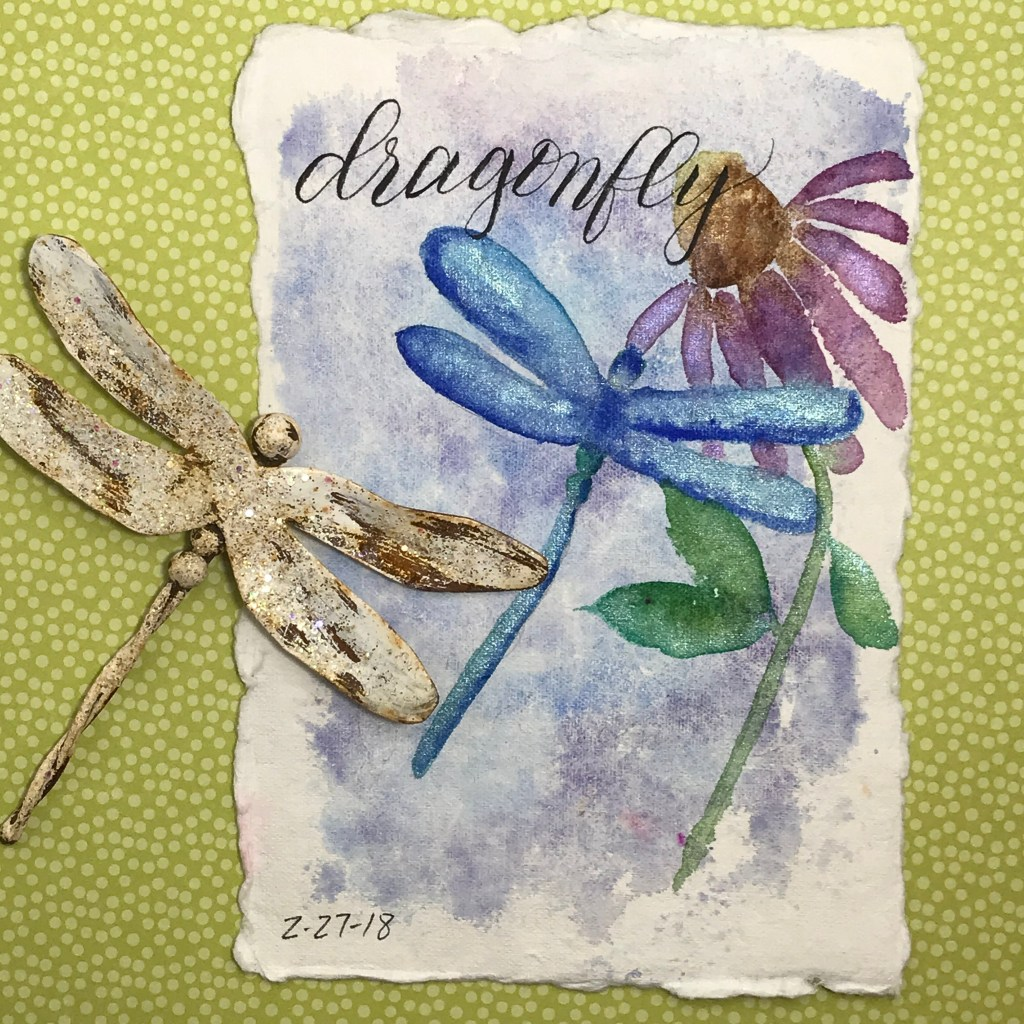 I painted this dragonfly for the February prompt, using a magnet I have as a model. I used metallic