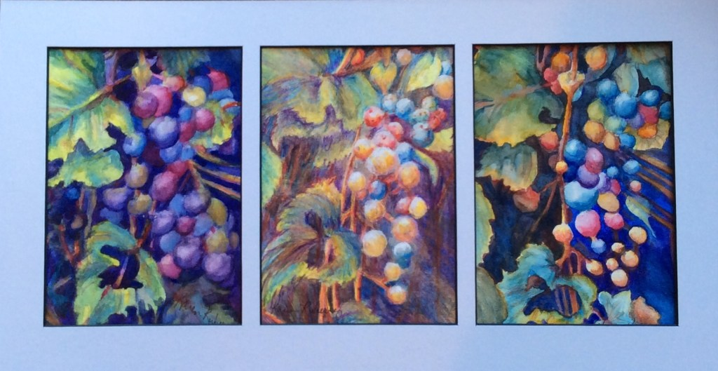 """""""Kudzu Triptych"""" is a group of three watercolor and watercolor pencil paintings in different col"""