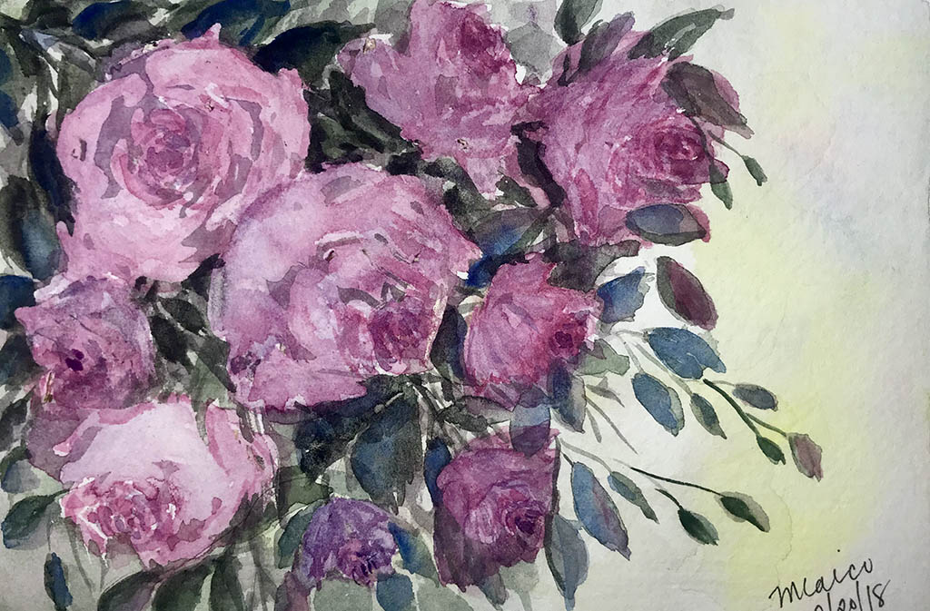 #WorldWatercolorGroup - Watercolor floral painting by Mayleen Laico - Doodlewash