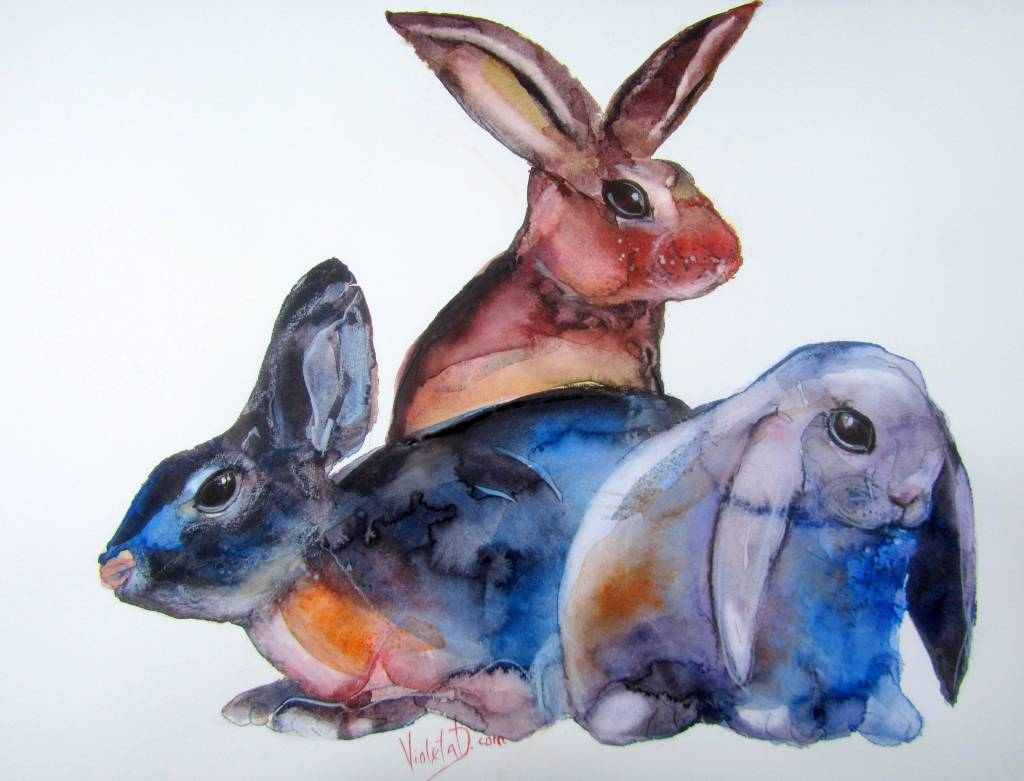 Three Hares, watercolor on Hahnemühle Britannia 300 gsm, 36 x 48 cm, March 2018 #worldwatercolorgro