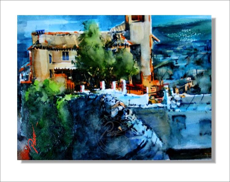Letur, Albacete, Acuarela Original de Juan Miguel Álvarez Páez. Letur, Albacete. Callet 46, Origin