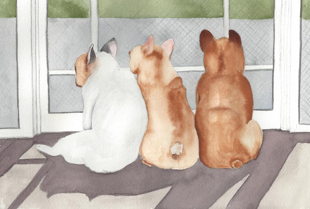 Titled this one Neighborhood Watch. Three little French Bulldogs looking out the screen door and kee