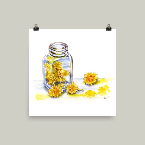 Painting With Dandelions Watercolor Print