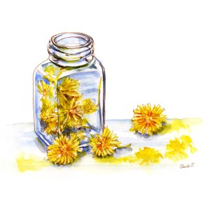 Painting With Dandelions Watercolor Print Detail