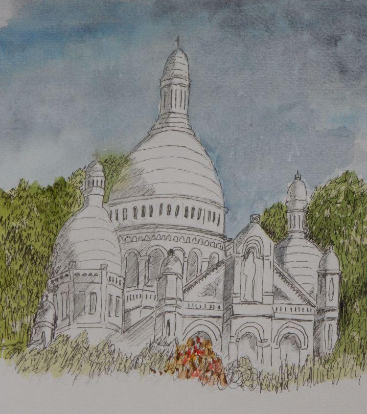 World Watercolor Group? Sacré-Cœur in Paris Ink sketch painted with watercolours Sacré-Cœur in P