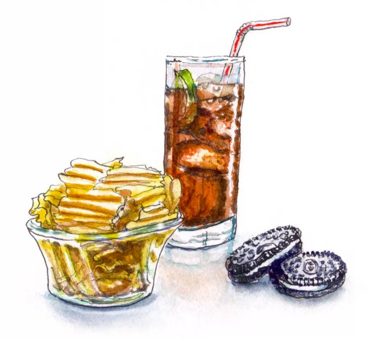 Soda and Chips Watercolor Sketch