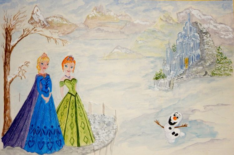 World Watercolor Group™ TWO SISTERS sisters and the snowman are from Walt Disney's film
