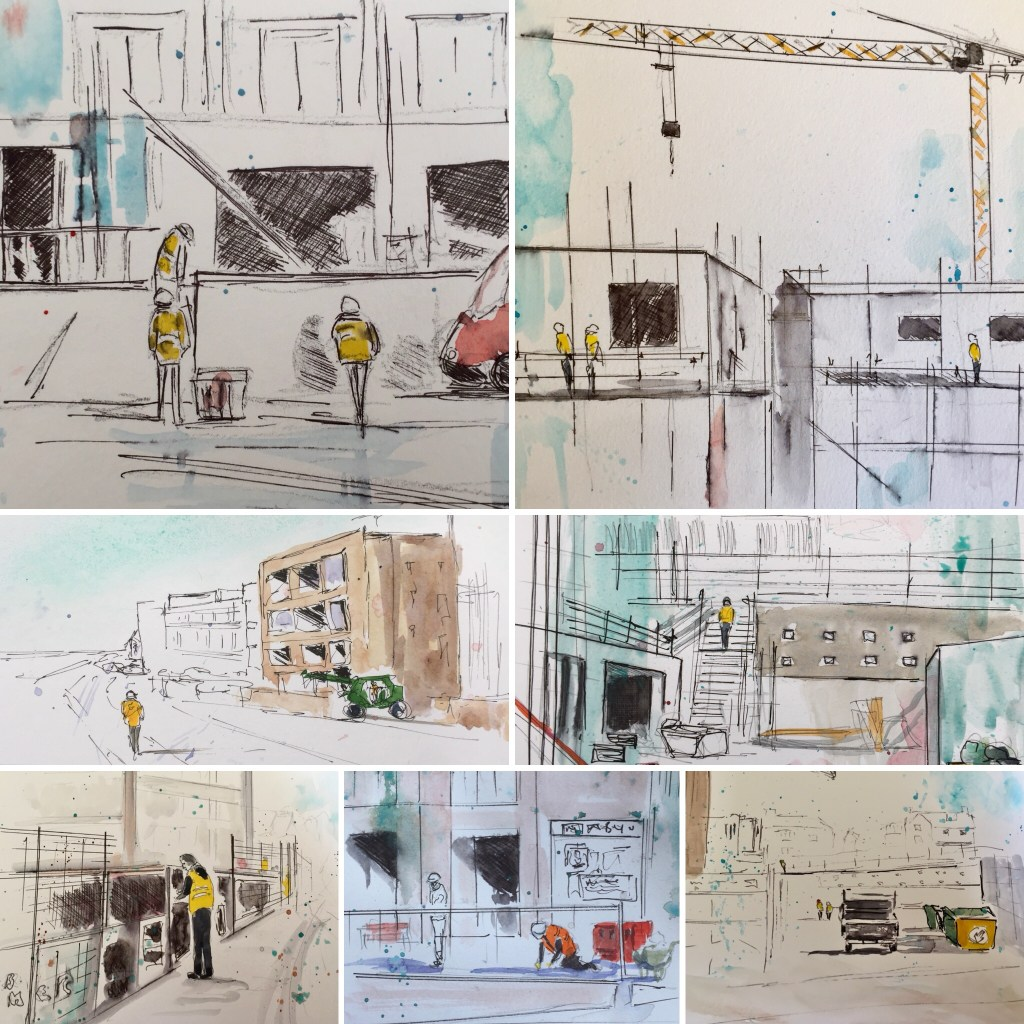 Collage of drawings. There's a local former hotel being renovated into luxury apartments. At t