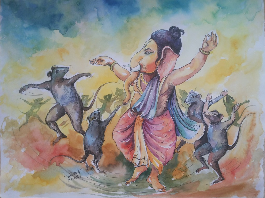 Lord Ganesha !! Watercolo On Papaer!! https://www.facebook.com/chitrakarsanjaywagh https://www.insta