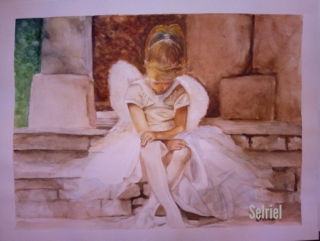 I love to paint little girls on costumes and convey emotions on every portrait. This is an attempt n