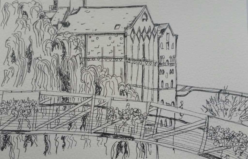 First attempt at sketching a view….not sure where or how much colour to add yet! 20180406_1833