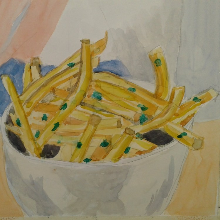 Here is my painting of french fries for yesterday. 20180407_093538