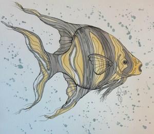 """Gone Fishy"" Artist Susan Feniak. Daniel Smith Extra Fine Watercolors on Canson paper. G"