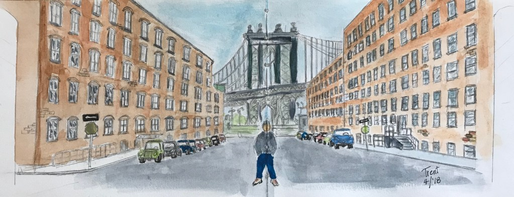 My former coworker and friend pictured in an urban sketching of the Brooklyn Bridge. 78E71E8A-E9BF-4