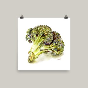 Broccoli Watercolor Print Eating Little Trees