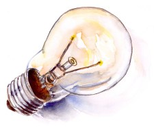 Da Vinci Watercolor Tubes Trio Lightbulb Illustration ©Doodlewash