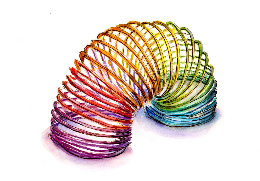 #doodlewashApril2018 - Day 1 - Rainbow Slinky Watercolor Sketch - Doodlewash