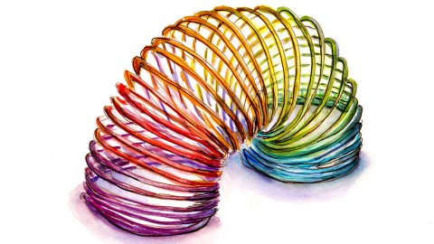 #doodlewashApril2018 - Day 1 - Rainbow Slinky Watercolor Sketch - Doodlewash