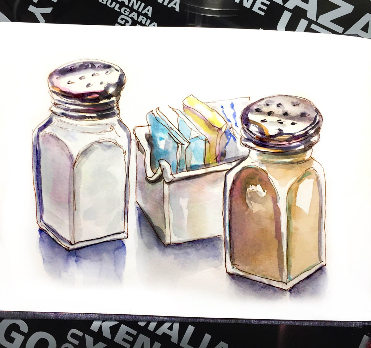 Day 19 - Urban Picnic - Salt and Pepper - Urban Sketching - Doodlewash