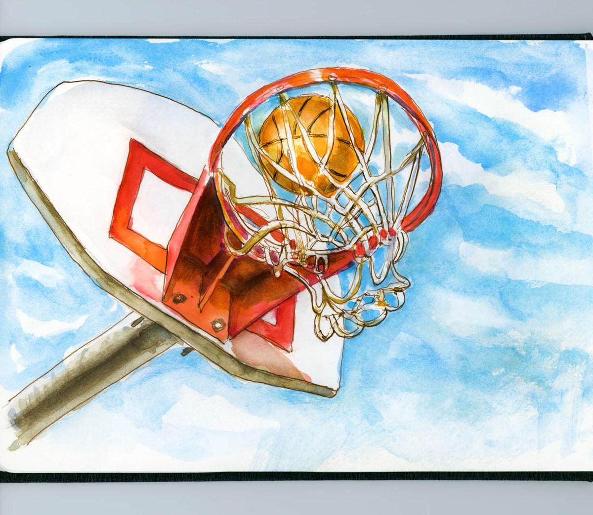 Day 25 - Backyard Basketball - #doodlewashApril2018 - Doodlewash