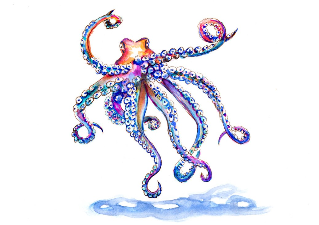 Day 28 - Visiting The Aquarium - Octopus Watercolor - #doodlewashApril2018 Doodlewash