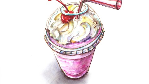 Strawberry Shake With Whipped Cream - Doodlewash - #WorldWatercolorGroup