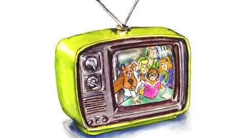 Day 9 - Retro Television Scooby Doo Watercolor - Doodlewash