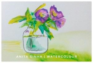 #Day13 #Transparent #DoodlewashMarch2018 #Transparent jar for flowers Flowers in a transparent glass