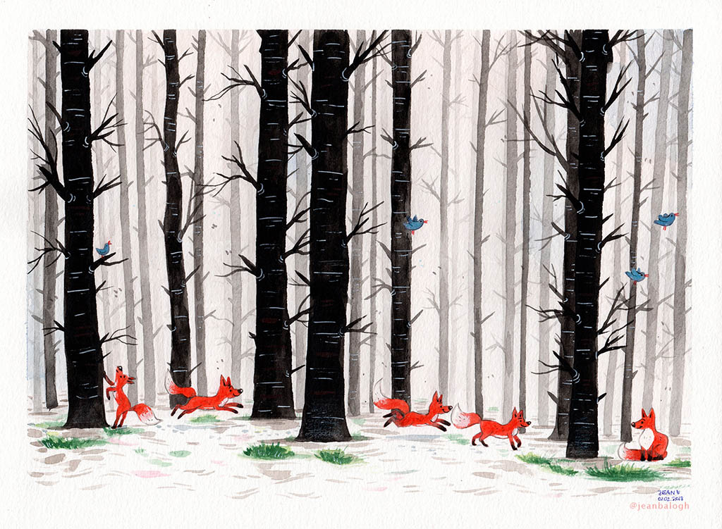 Forest Adventure - Watercolor Illustration by Jean Balogh - Doodlewash