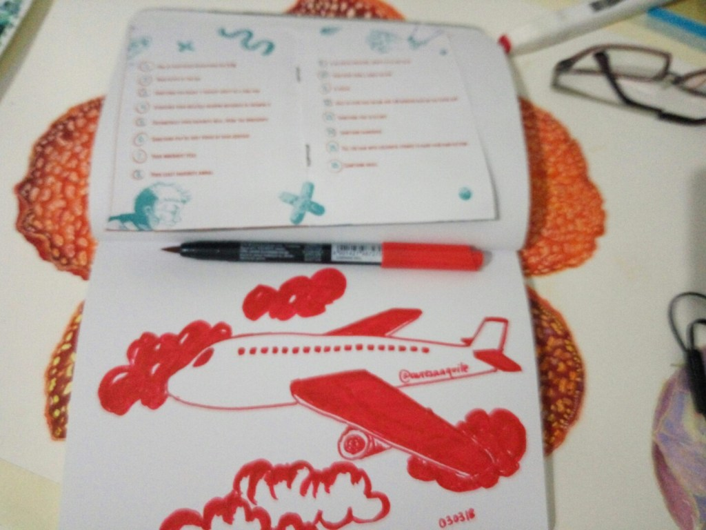 3. Something that I didn't think in a long time,, -Travel overseas- #inred#drawingchallenge#zi
