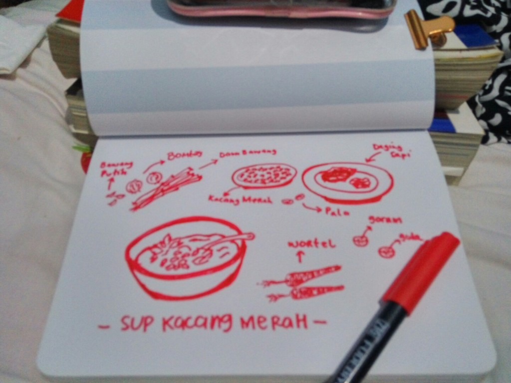 5. Favourite food ingredients Red beans soup #sketch#drawingchallenge#doodling#inred IMG_20180305_22