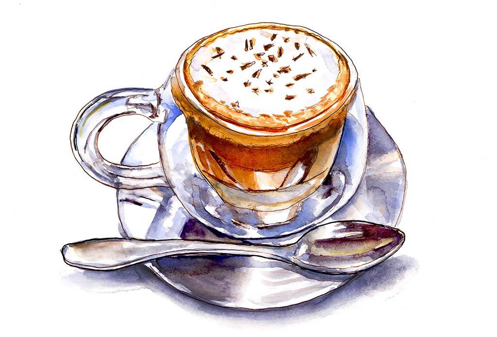 A Shiny Cappuccino Da Vinci Watercolor ©Doodlewash