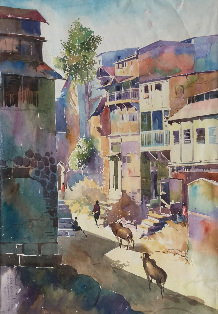 """watercolor on paper! """"Old Nashik"""" outdoor watercolor landscape!! 32.5x48cm size Sanjay_O"""