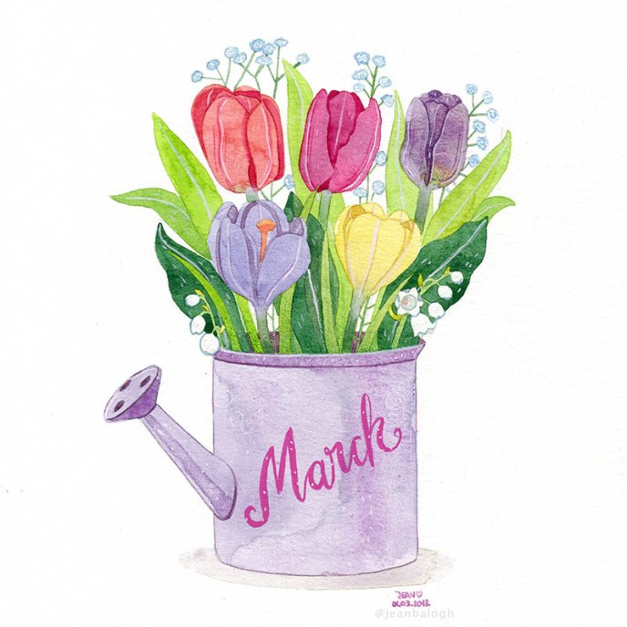 Spring Is Here - Watercolor Illustration by Jean Balogh - Doodlewash