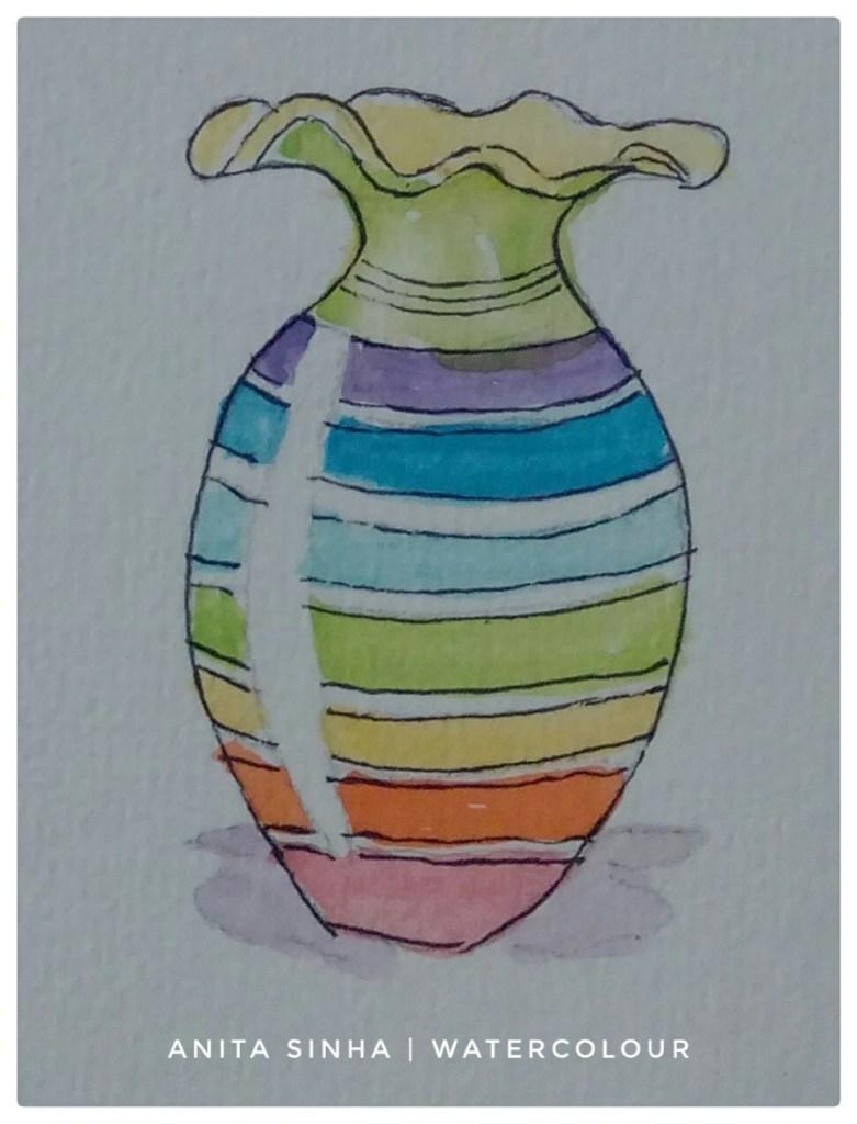 #Day1 #Rainbow #DoodlewashApril2018 #Rainbow vase Vase