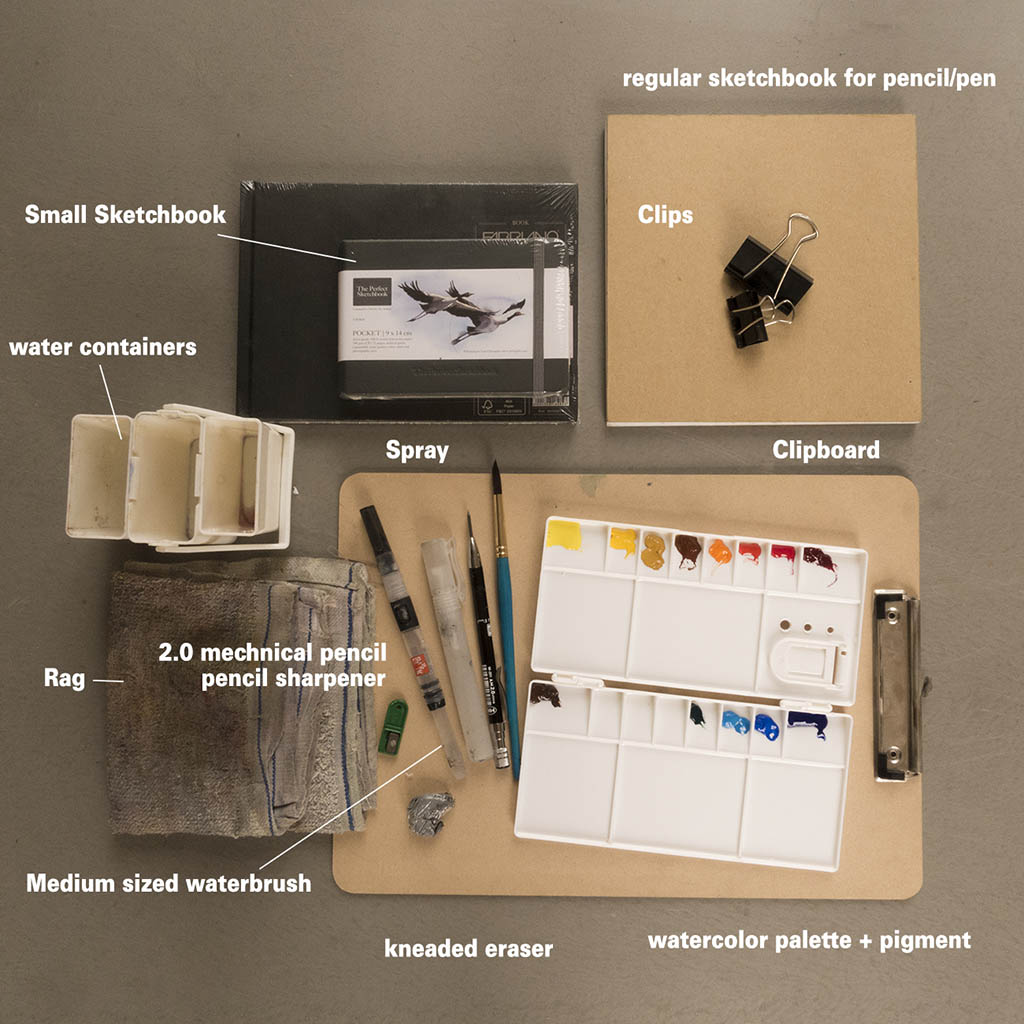 Sketching and Painting Supplies of Erwin Lian - Doodlewash - Urban Sketchers
