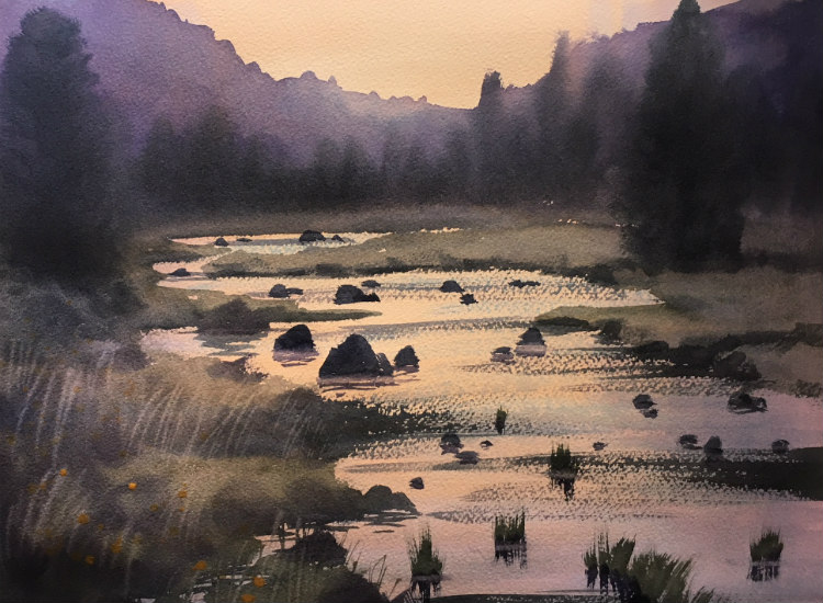 A Beautiful Japanese River at Dusk. What do you think? Should I have painted it earlier in the day w