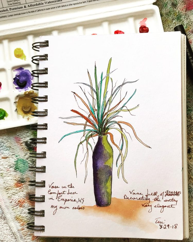 Another sketch from our road trip. Found this vase at the motel entry and I was inspired to paint it