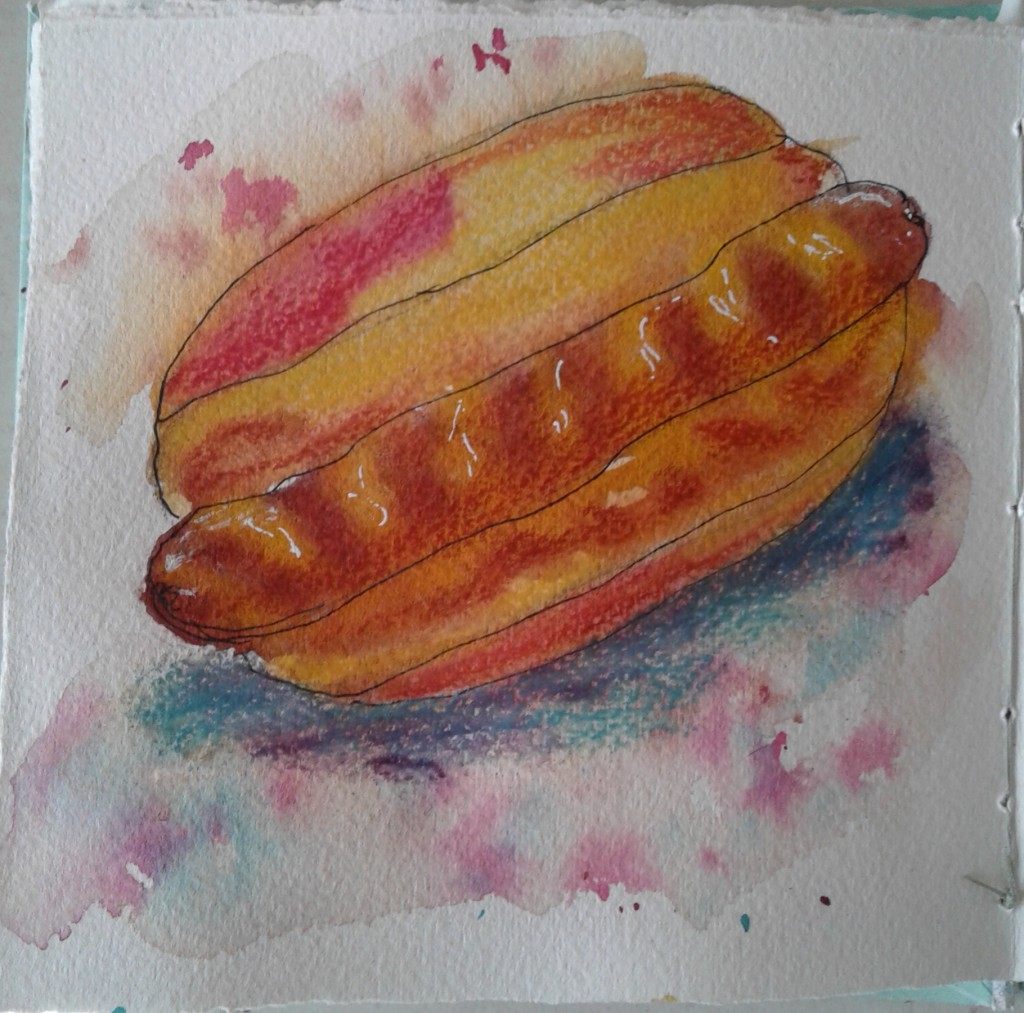 """Day 314…lunch When I sat down to paint this prompt, I sat there thinking """"Hmmm lunch, lu"""
